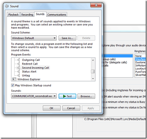 Turn off 2nd Incoming Call/Call Waiting Sound in Lync Client