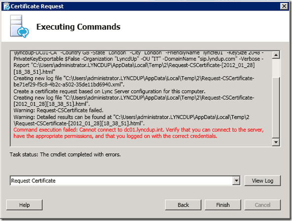 "Lync Certificate Request Wizard Fails: ""The RPC server is"