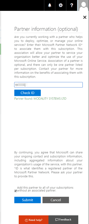 Add or Change Office 365 Partner of Record (POR) or Subscription