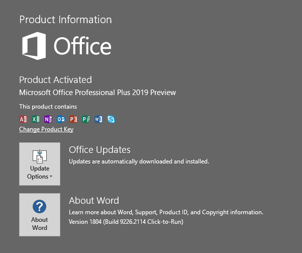 Office 2019 Commercial C2R Preview is Here, with Skype for