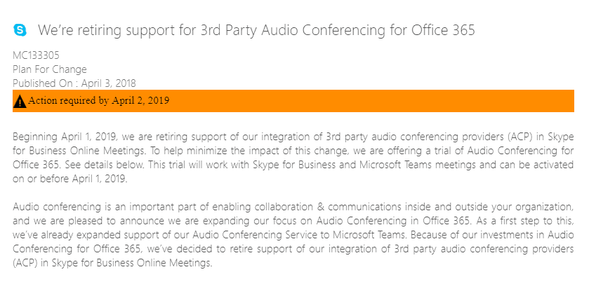 Microsoft End of Life 3rd Party PSTN Audio Conferencing (ACP