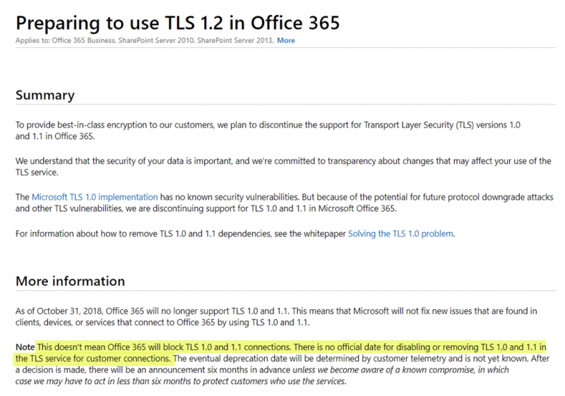 Microsoft no longer enforcing TLS 1 2 in Office 365 from October