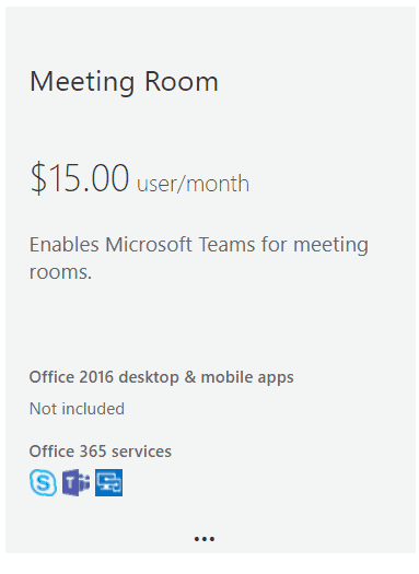 New Office 365 Meeting Room System Licence Subscription for