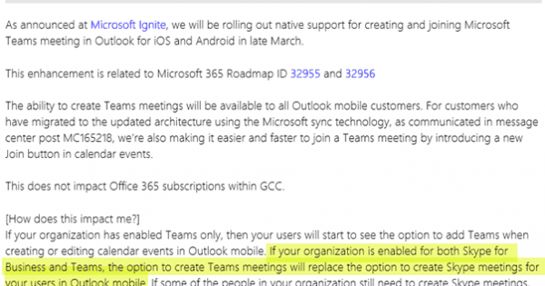 Outlook mobile to support scheduling Microsoft Teams Meetings, when