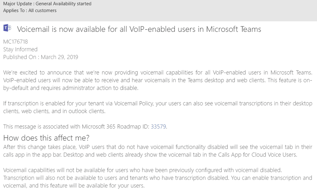 Voicemail is now on-by-default for all VoIP-enabled users in
