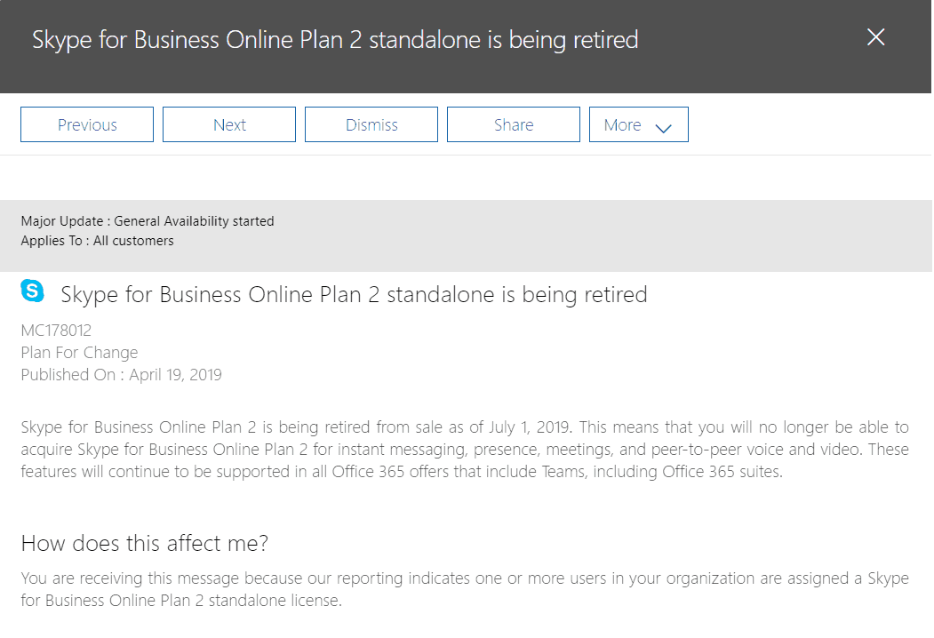 Skype for Business Online Plan 2 standalone is being retired