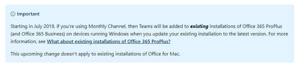 Existing Office 365 ProPlus Installs to get Microsoft Teams